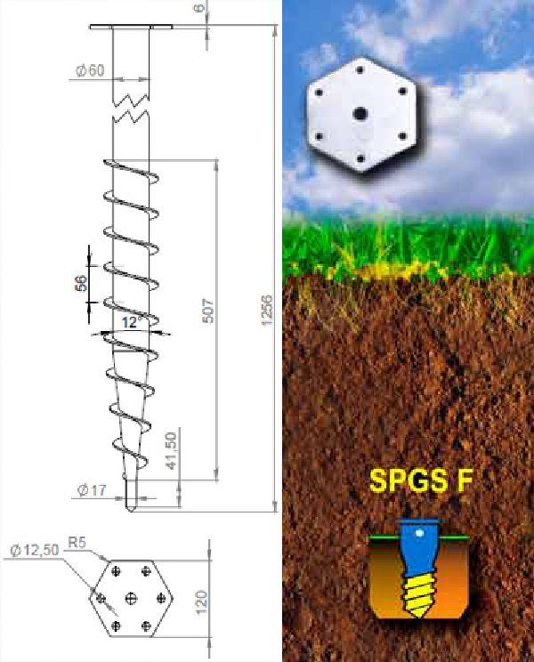 Винтовые сваи с шестигранным фланцем | Серия SPGS F